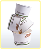 custom printed compostable soup bowl leaf print stacked small Soup Containers